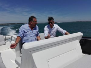 Oliver Frols and Erik Stromberg sailing in a Prestige 590